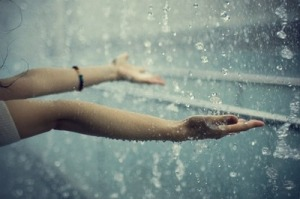 hands in the rain